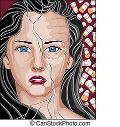 Mujer drogadicta de prescripción