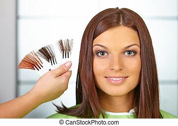 mujer, dye., color, pelo, choses, salon.