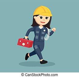Mujer electricista haciendo diseño de ilustración