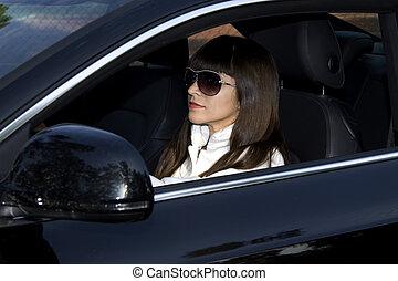 Mujer elegante en auto