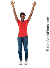 mujer, ella, arriba, brazos, excitado, levantar