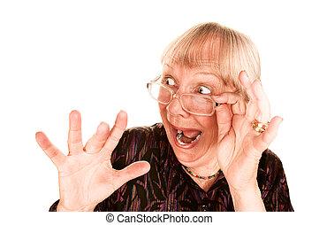 mujer, ella, encima, sorprendido, mirar, 3º edad, cima, anteojos