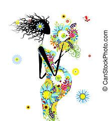 Mujer embarazada con ramo floral para tu diseño