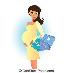 Mujer embarazada de compras