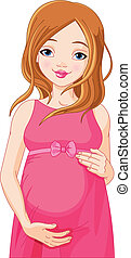 Mujer embarazada feliz preparada para B