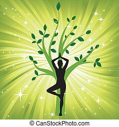 Mujer en el árbol de yoga asana