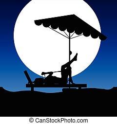 Mujer en el sillón en ilustración a la luz de la luna