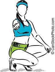 Mujer en forma pulgar arriba ilustración vectorial