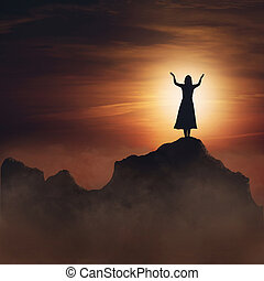 Mujer en la montaña.