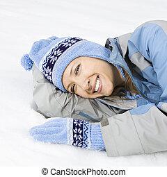 Mujer en la nieve.