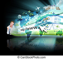Mujer en portátil con proyección de Internet negra