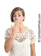 Mujer en problemas gestando oops con una mano en la boca