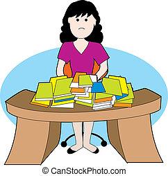 Mujer en un escritorio sucio