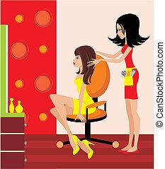 Mujer en un salón de belleza