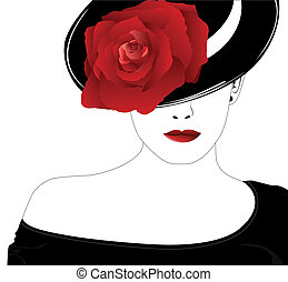 Mujer en un sombrero con una rosa