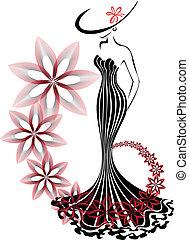 Mujer en un vórtice de flores