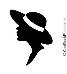 Mujer en un vector de sombrero