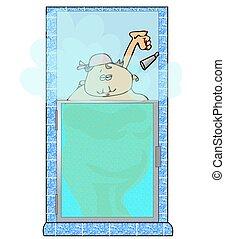 Mujer en una ducha