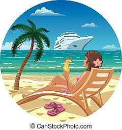 Mujer en una playa