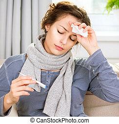mujer, enfermo, thermometer., dolor de cabeza