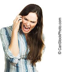 Mujer enojada gritando por teléfono
