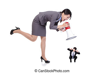 mujer enojada, jefe, empresa / negocio