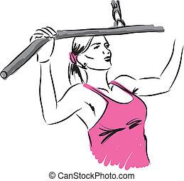 mujer, entrenamiento, ilustración