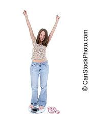 mujer, escala, dieta