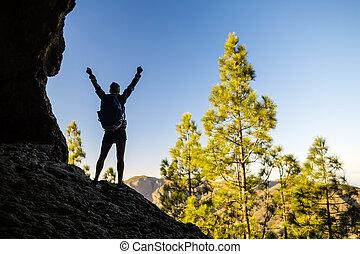 Mujer escalando la silueta del éxito en las montañas del atardecer