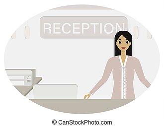 mujer, especialista, recepción