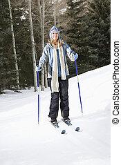 Mujer esquiadora.