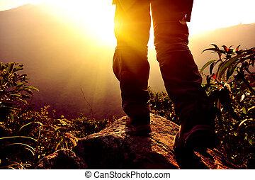 mujer, excursionista, montaña, estante, pico