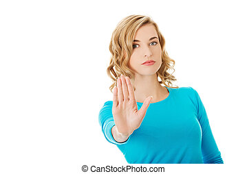 Mujer expresando NO