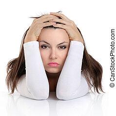 mujer, expresión, preocupado, cara