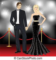 mujer, famoso, paparazzi, pareja, elegante, moda, lujo, frente, hombre, alfombra roja