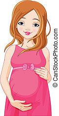 mujer felíz, preparado, b, embarazada