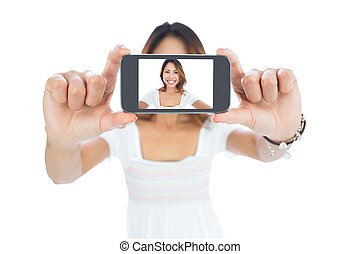 mujer felíz, selfie, toma, asiático