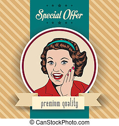 Mujer feliz, ilustración retro clipart comercial