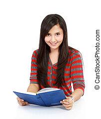 mujer feliz, libro de lectura, joven