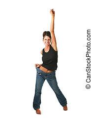 Mujer feliz que encontró sus objetivos de pérdida de peso