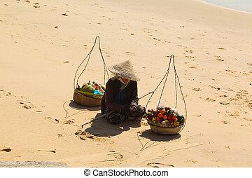 mujer, fruta, vietnamita