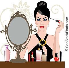 Mujer Glamour aplicando maquillaje
