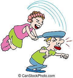 Mujer golpeando al hombre con sartén