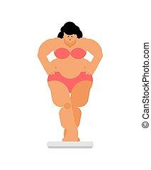Mujer gorda y escalas. Pérdida de peso y dieta