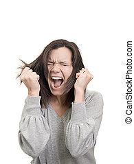 mujer, gritos, ella, pelo, frustración, tira