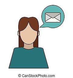Mujer hablando de correo electrónico