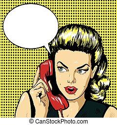 Mujer hablando por teléfono con burbuja de habla. Ilustración de vectores en estilo de arte pop retro