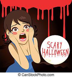mujer, halloween, aterrorizado