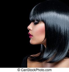 mujer hermosa, belleza, pelo, girl., cortocircuito, morena, negro