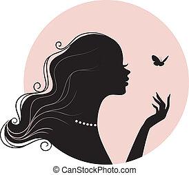 Mujer hermosa con mariposa